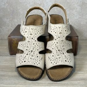 Laser Cut Ivory Cream Leather Low Wedge Sandals